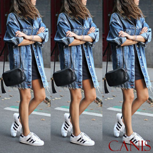 Jean Jacket Outwear Long-Coat Spring Ripped Blue Autumn Casual Fashion Women Denim New title=