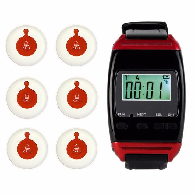 Sistema de Paginación Restaurante Wireless Sistema de Llamada de Buscapersonas con 1 Reloj Receptor + 6 Botón Impermeable Restaurante Equipos F4484B