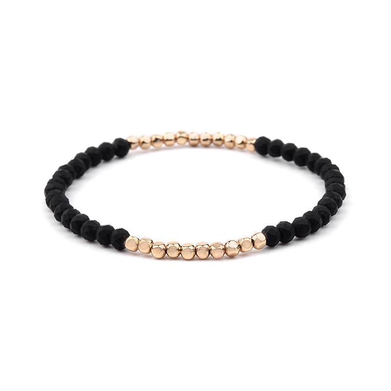 BOJIU многоцветные Кристальные браслеты для женщин золотые акриловые медные бусины розовый белый черный серый женский браслет с кристаллами BC226 - Окраска металла: 16-Black