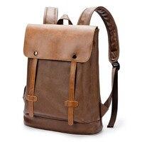 Vintage School Backpack Bookbag College Bag Leisure PU Leather Bag Brown black