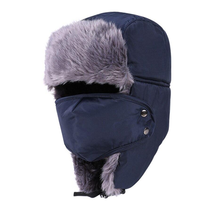 Winter Fur Hats Windproof Thick Warm Winter Snow Women Cap Face Mask Mens Hat