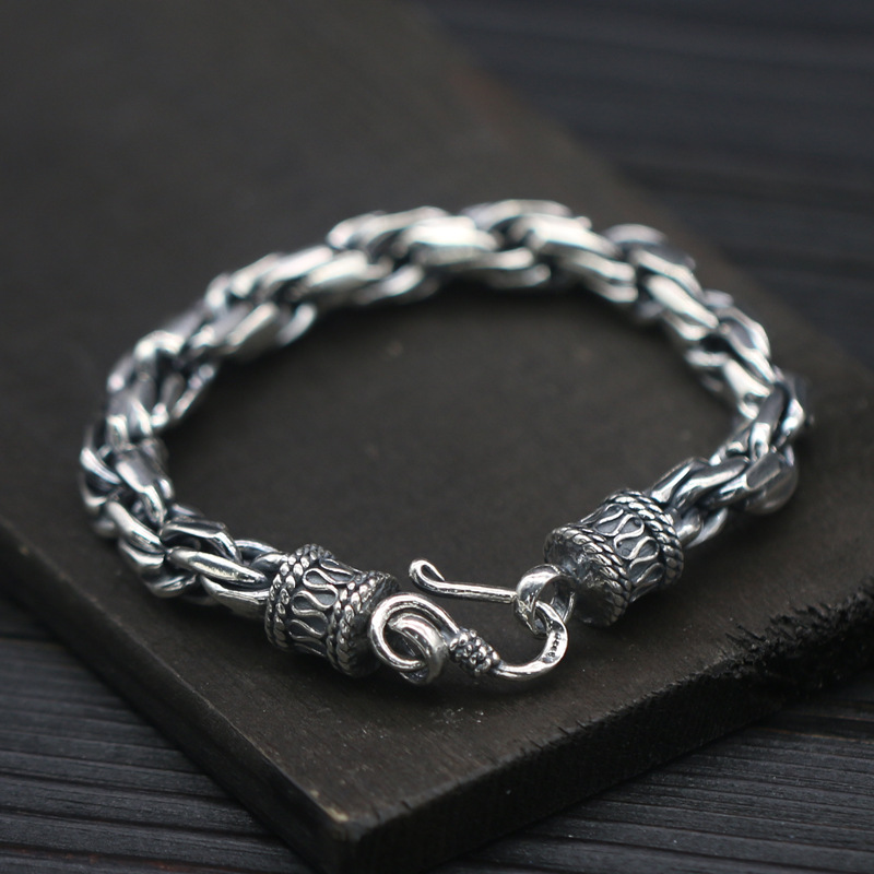 S925 Sterling Silver Egg Ring Three-ring Hemp Rope Handmade Headdress Horn Chain Men's Retro Thai Silver Jewelry Bracelet