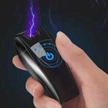 New Touch Sensor USB Cigarette Lighter Double Arc Windproof Metal Flameless Electronic Lighter Plasma  Charging Lighter Men Gift цена