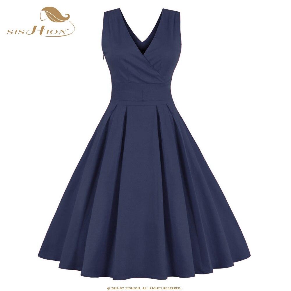 SISHION S-4XL <font><b>Plus</b></font> <font><b>Size</b></font> Women Dress Double V Neck <font><b>Blue</b></font> Swing Casual Retro 50s 60s Rockabilly Vintage Dress <font><b>Tunic</b></font> Vestidos VD0410