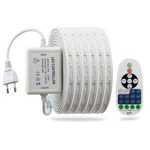 Image 2 - LED רצועת אור 220 v עם RF מרחוק בקרת Dimmable סרט 2835 SMD IP67 Waterproof Ledstrip 220 v דיודה קלטת led בנדה JQ