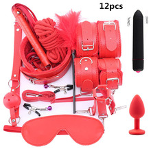 10 Pcs/set Sex Products Erotic Toys for Adults BDSM Sex Bondage Set Handcuffs Nipple Clamps Gag Whip Rope Sex Toys For Couples все цены