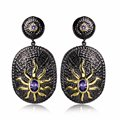 Limited Edition earrings Free shipping Cocktail party jewelry Black gold plated Sun pattern Elegant drop bohemian earrings