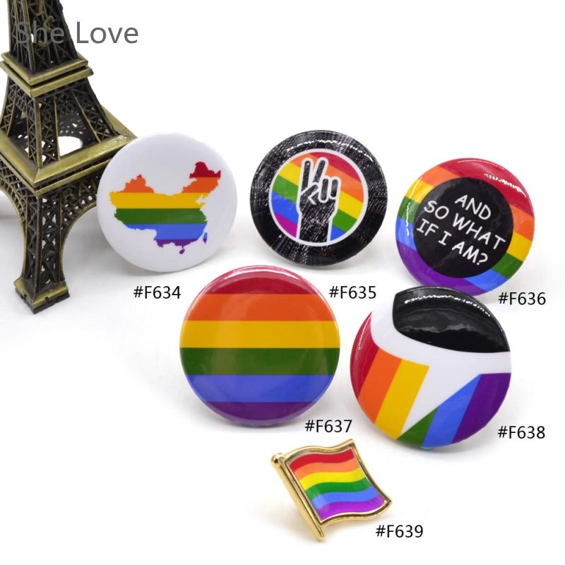 LGBT Pride Regenbogen Flagge Buttons Taste Abzeichen Unterstützung Homosexuell Lesben Symbol Pin