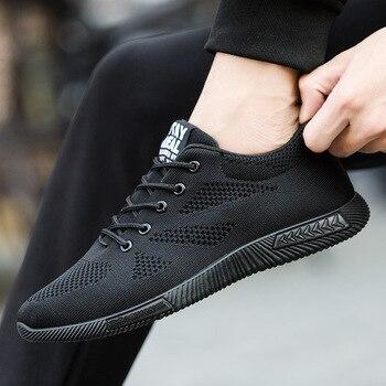 d7e6307d6 Мода 2019 Лето воздухопроницаемые сетчаты для мужчин обувь черный супер  легкий на шнуровке Tenis Masculino мужские кроссовки мягкие удобные