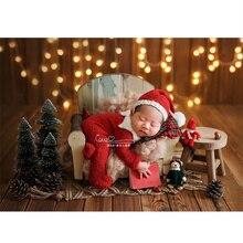 Props Fotografia Navidad Old Wooden Sofa Newborn Baby Posing Props Photography Vintage Wood Studio Photography Props for Shoot недорого