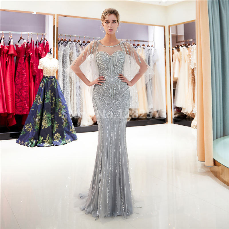 Gorgeous Gold Long Sexy Mermaid Evenig Dress with Cape Elegant Sparkly  Formal Dress Beaded Chic Luxurious Grey Women Party Gown 3ed8d9cad51c