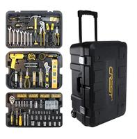 Multi function Household Maintenance Combination Tool Wrench Screwdriver Knife Hand Tool Set With Rolling Tool Box 105255