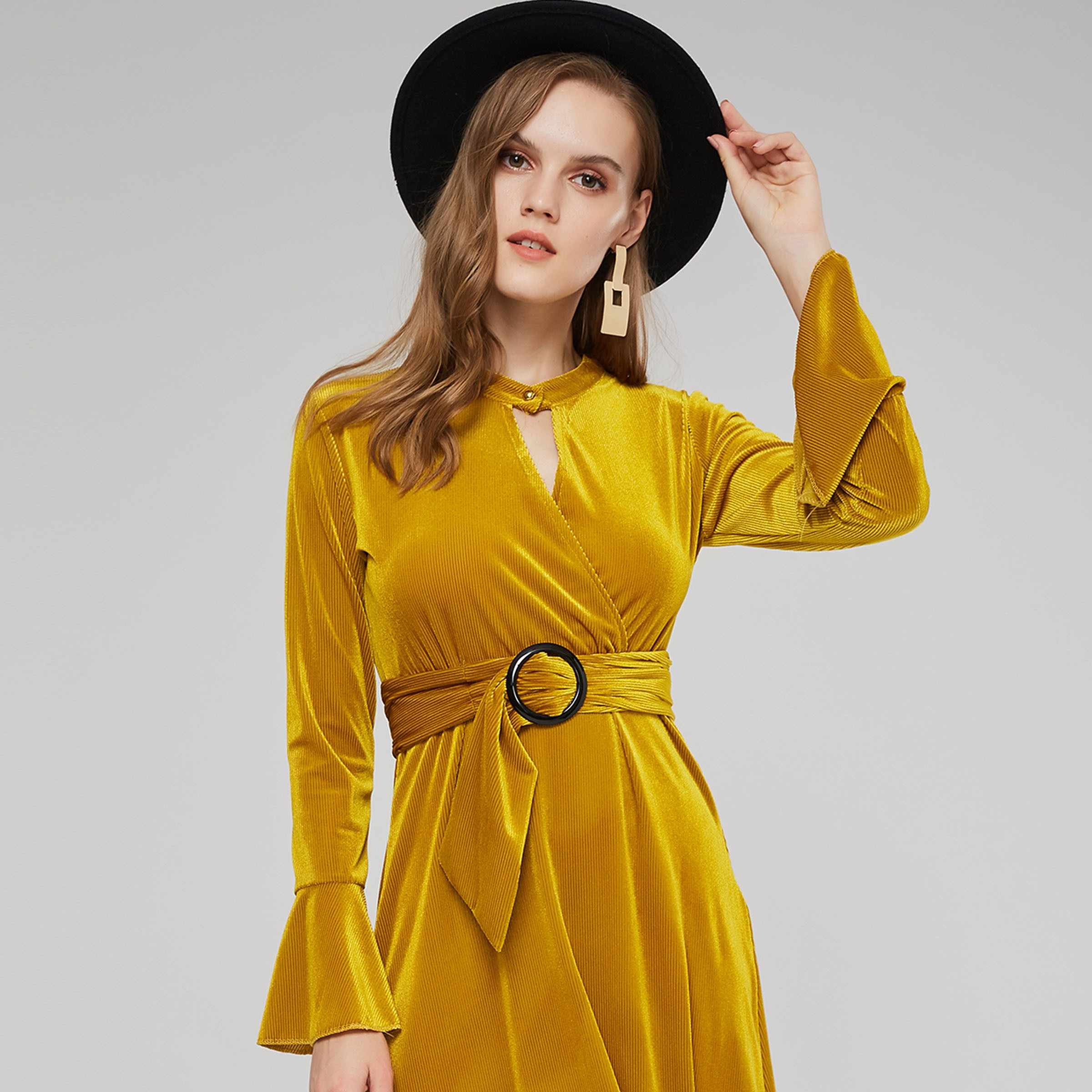 f123006131 ... Sisjuly Evening Party Thread Striped Yellow Velvet Swing Dress Women  Spring Winter Lace Up Buckle Belt