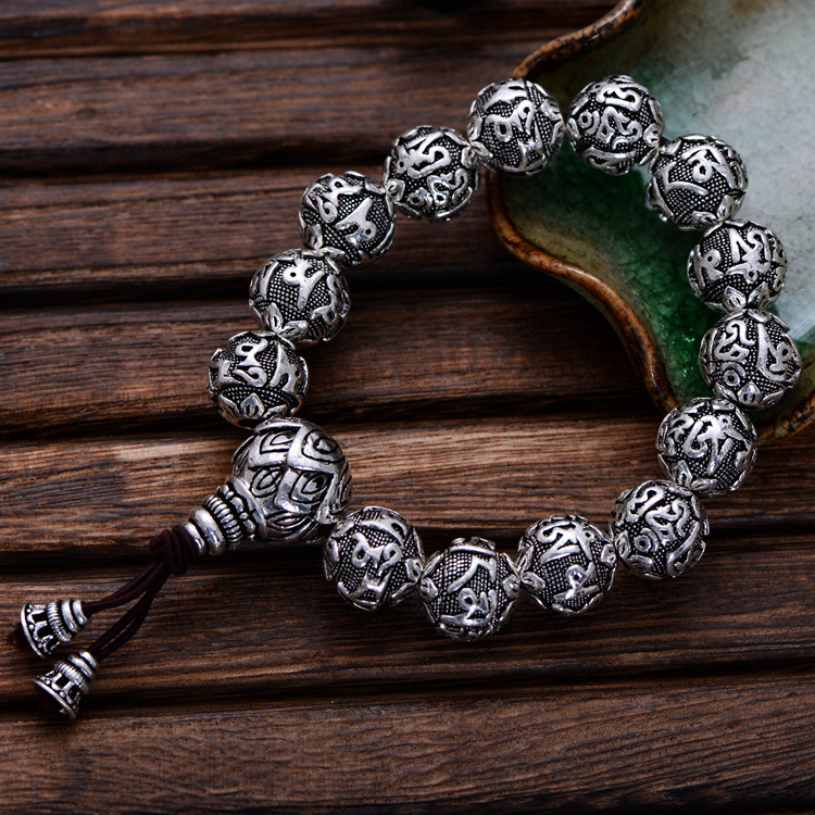 925 Sterling Silver Thai Retro Men Jewelry Six Words Mantra Buddha Beads Transfer Rosary Bracelet CH054149 925 silver buddha rings for men women jewelry six words of mantra 100