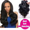 Clip in Human Hair Extensions Peruvian Wavy Weave Clip in Hair Extensions Natural 1b Clip in Human Hair Extensions For Black