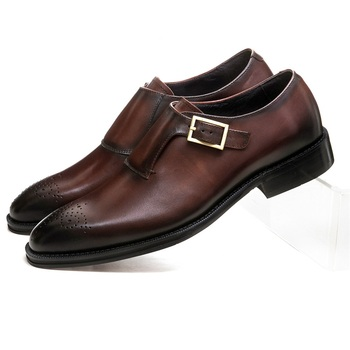 Brown Tan / Black Goodyear Welt Boys Prom Dress Shoes Genuine Leather Monk Straps Business Shoes Male Groom Shoes Formal Shoes