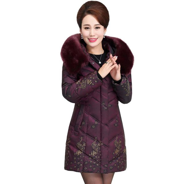 2016 new winter jackets coat mother clothing medium long thicken warm faux fur collar wadded coat down cotton women parka kp0988