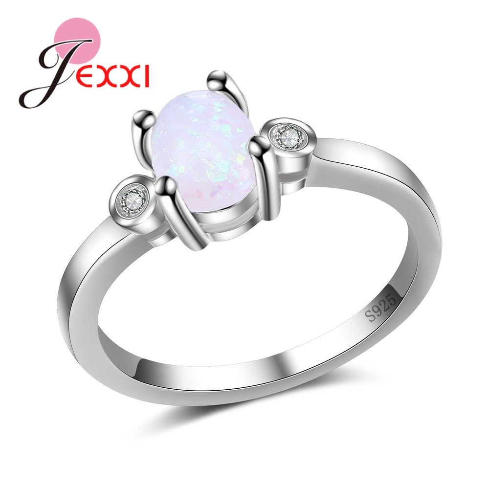 JEXXI 925 Sterling Silver Women Top Quality Jewelry Finger Rings Trendy Stone For Ladies Vintage Gift For Variety Of Accounts