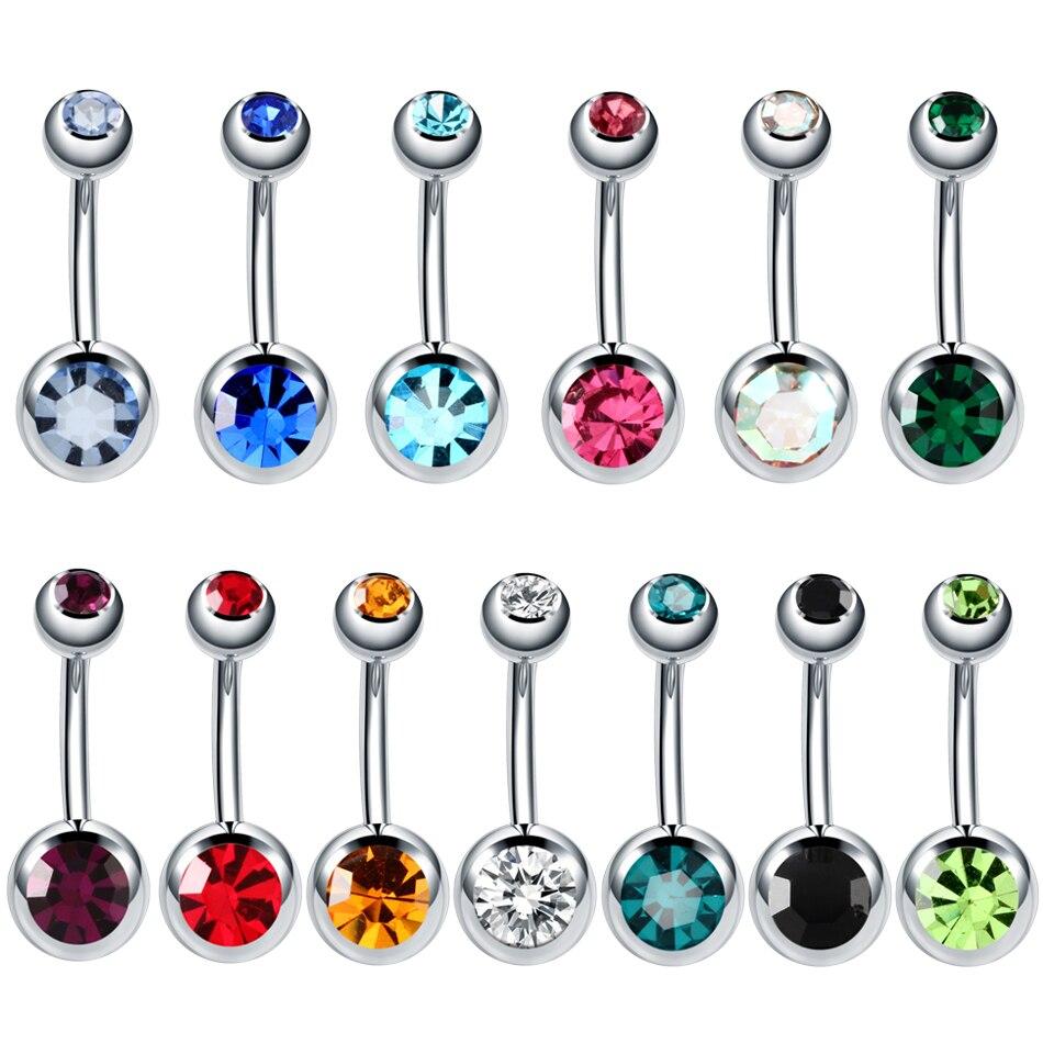 Dangle-Earrings Navel-Piercings Body-Jewelry Steel 14G Gem 1PC Nombril