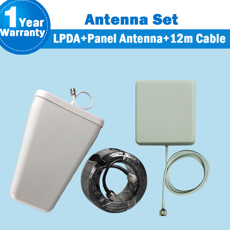 GSM 2G 3G WCDMA 4G LTE Outdoor LPDA External Antenna + Panel Antenna +12 Meters Coaxial Cable For Mobile Phone Siganl Booster 31