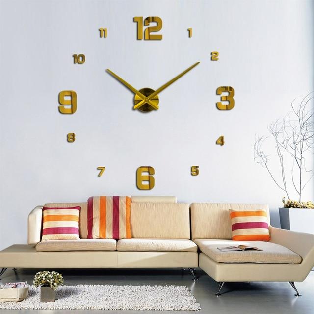 2019 new arrival 3d real big wall clock modern design rushed Quartz clocks fashion watches mirror sticker diy living room decor 3