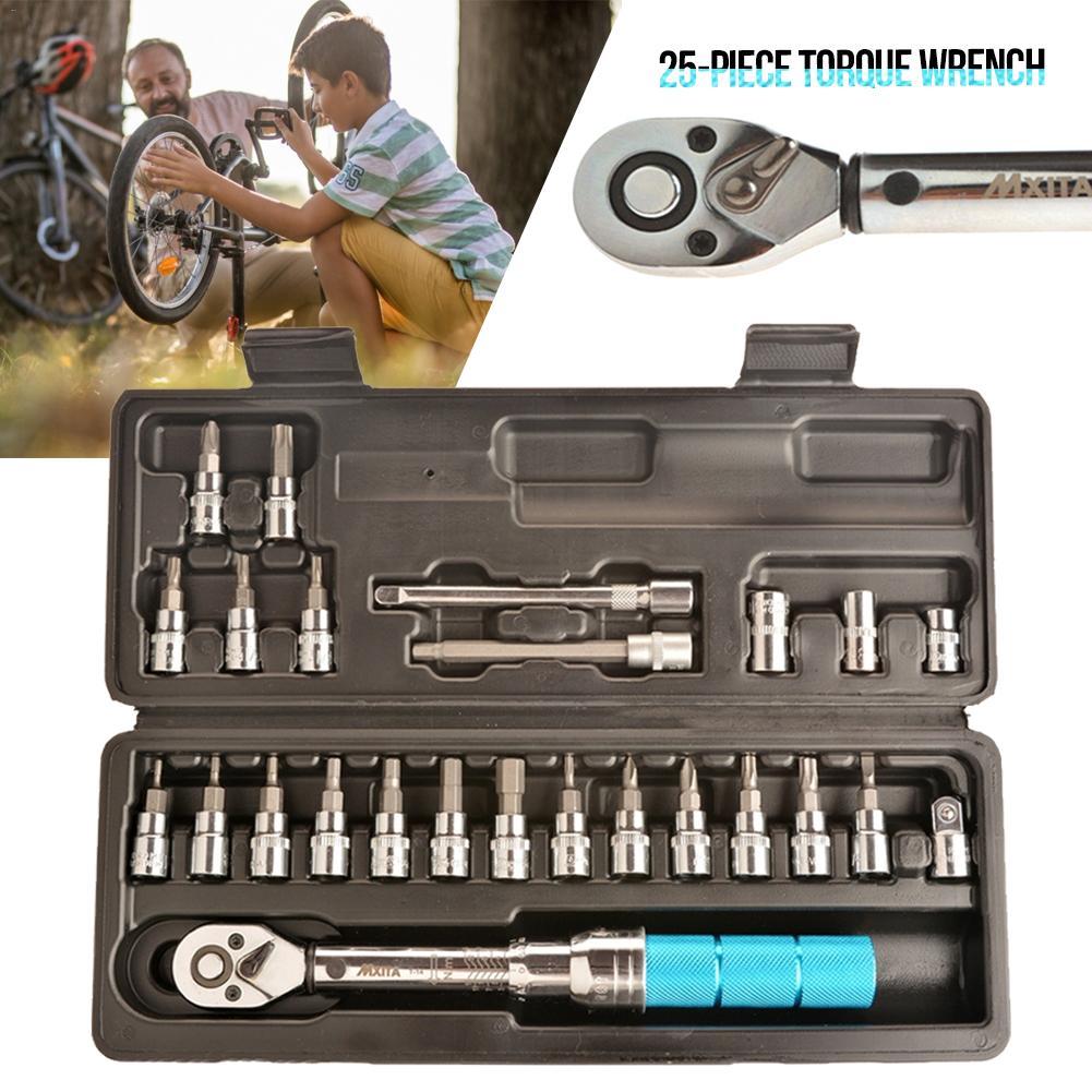 Clé dynamométrique 25 pièces outils de réparation de vélo clé dynamométrique réglable Topeak clé à molette 1/4 2-14 Herramientas Bicicleta