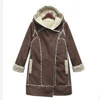 Winter Jacket Women Thick Lamb Wool Suede Coats Woolen European Style Winter Coat Women Hooded Warm Parkas Jackets Female C2622