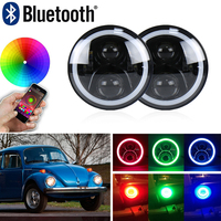 Auto Car 7 inch Round Headlight Kits For VW Beetle Classic 1950 1979 W/ Bluetooth RGB DRL Halo Ring Hi/Low Beam DOT Approved