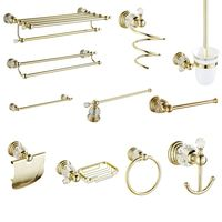 Crystal Bathroom Products Towel Rack Solid Brass Bathroom Hardware Sets Gold Polished Bathroom Accessories Wall Mounted