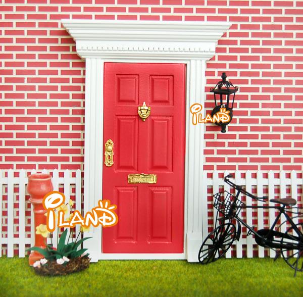 casa de muecas de hadas puertas de color rojo exterior puerta accesorios w