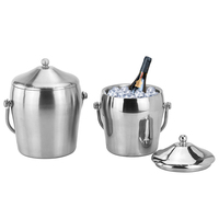 Stainless Steel ices Bucket Double Layer Cool for Champagne Wine Wedding Party 66CY