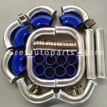 """Высокая производительность для """" 76 мм алюминиевые универсальные, для интеркулера Turbo Piping kit pipe& blue hose t-муфта"""