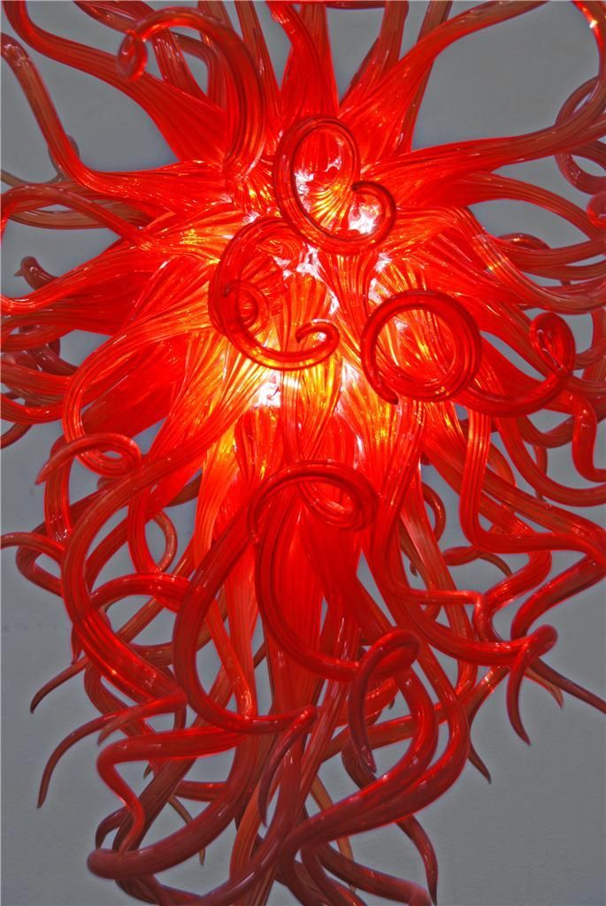 Free Shipping Air Shippment Red 100 Handmade Blown Glass Chandelier in Chandeliers from Lights Lighting