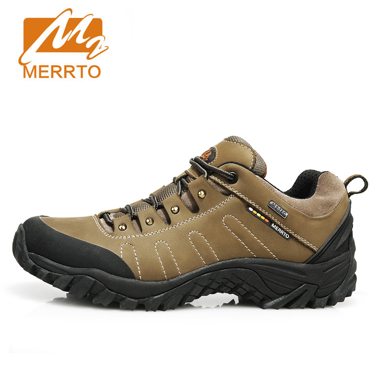 MERRTO Men Waterproof Hiking Shoes Genuine Leather Breathable Trekking Shoes Men Outdoor Brand Climbing Camping Mountain Shoes merrto men waterproof leather hiking shoes outdoor trekking boots trail camping climbing high quality outventure hunting shoes