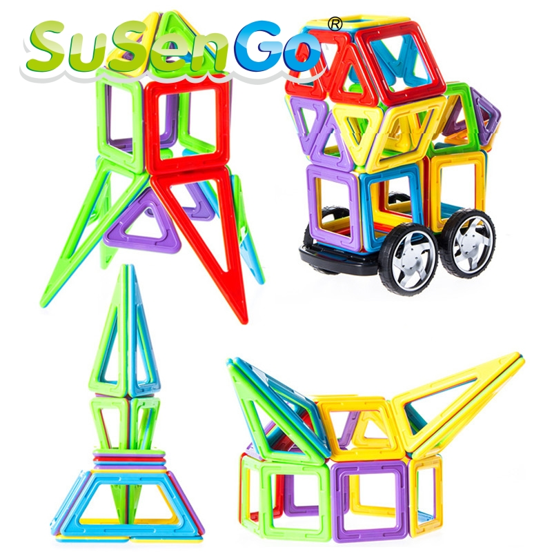 ФОТО 90 PCS magnetic block Building Models Toy with Windmill Car Enlighten Plastic Educational for Toddlers