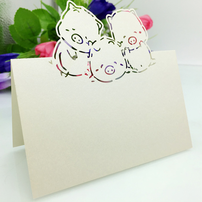 120PC/lot Laser Cut Cute Pig Party Table Name Place Cards Wedding  Invitations Favor Bithday