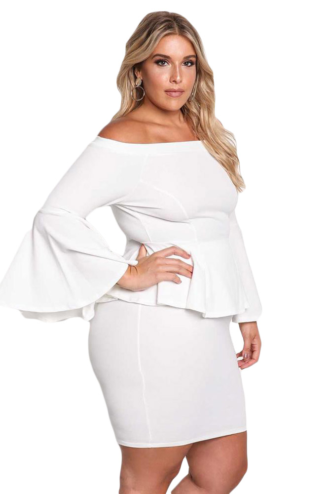 Zmvkgsoa Black White Off The Shoulder Bell Sleeves Peplum ...