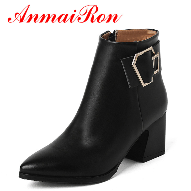 ANMAIRON High Heels Ankle Boots for Women Motorcycle Boots Winter Pointed Toe Black Shoes Woman Solid Platform Shoes Size 34-39 enmayer high quality new pointed toe spike heels ankle boots winter platform boots for women leather motorcycle boots