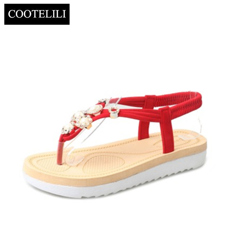COOTELILI Bohemian Summer Gladiator sandals women Flip Flops Flats Shoes Casual Ladies Platform Beach Sandalia Feminine gladiator sandals 2017 fock women summer comfort flats fashion creepers platform casual shoes woman 2 colors