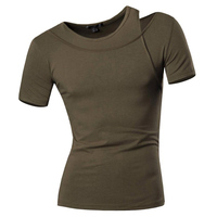 New Mens Spring Summer Dress Short Sleeve Casual V Neck Shirt Slim Fit T Shirt Trend