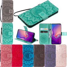 Luxury Embossed Sunflower Leather Flip Wallet Case Soft Silicone Smartphone Cover Shell Coque Funda Capa for Samsung Galaxy A6S