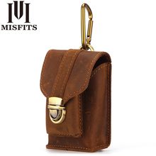 MISFITS Men Mini Waist Pack Genuine Leather Vintage Small Belt Loop Purse High Quality Crazy Horse Cigarette Case Pouch