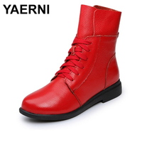 YAERNI Women's Boots Ankle Boot Genuine Leather Lace Up Winter Boot Ankle Boots For Women Genuine Leather Low Heel Female Shoes