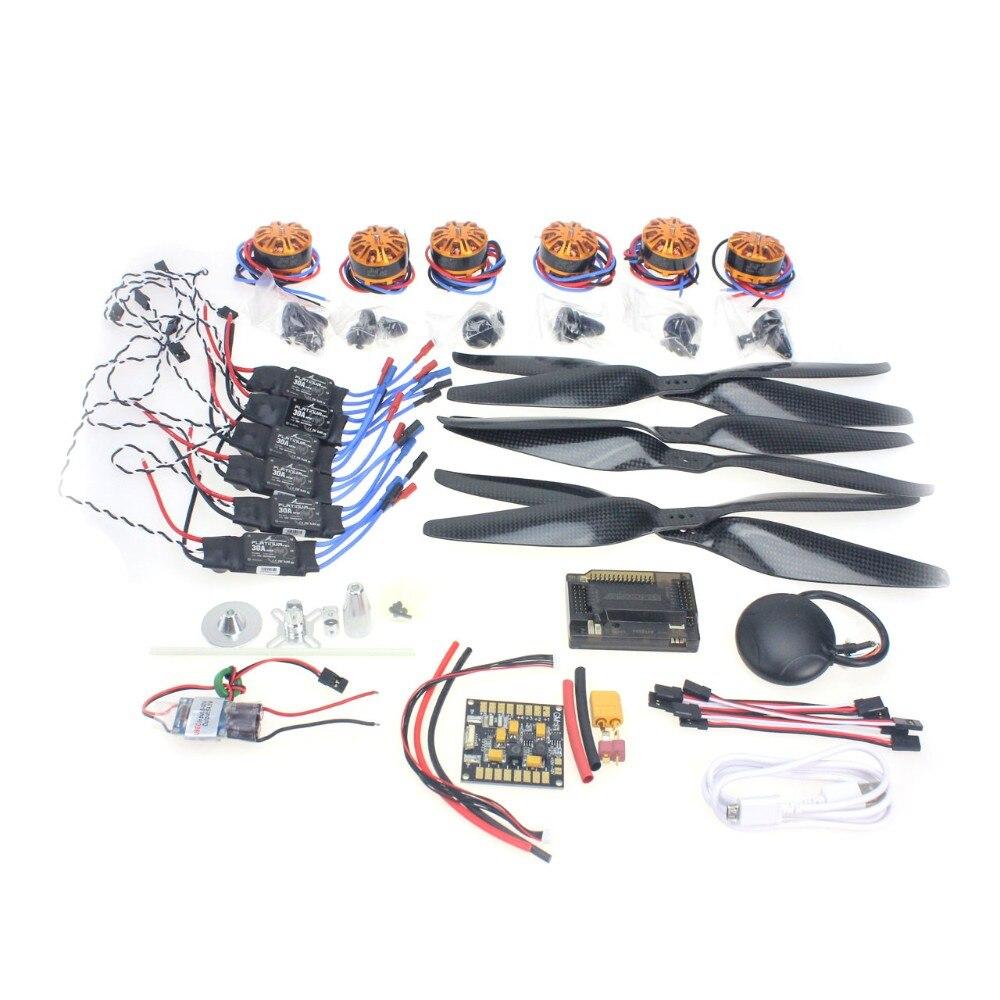 RC HexaCopter Aircraft Electronic Kit :700KV Brushless Motor 30A ESC 1255 Propeller GPS APM2.8 Flight Control DIY Drone F15276-A