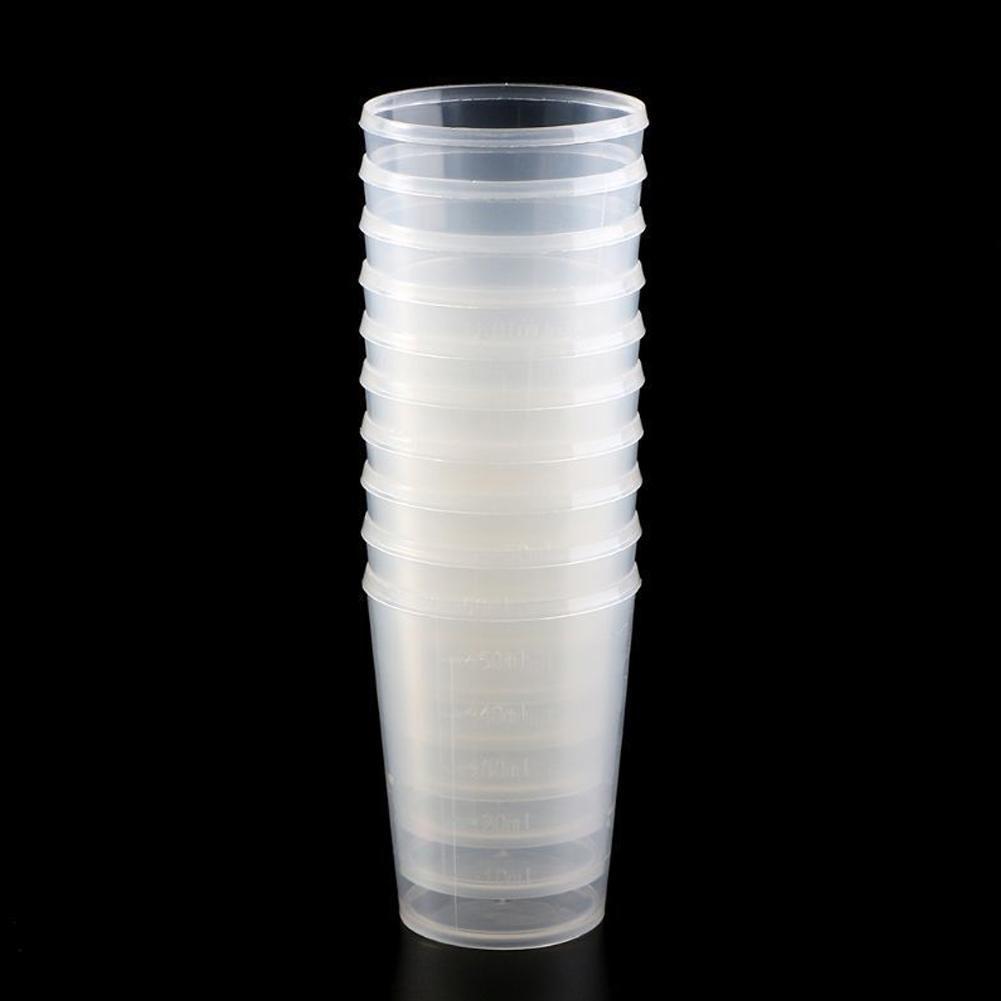 50 шт./компл. ясная устранимая Пластик со шкалой чашка измерения цилиндрические чашки одноразовые Пластик кофе чашки 30 мл 50 мл