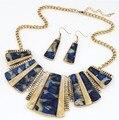 Fashion Jewelry Vintage Set Azul Geométrica Pendientes para Las Mujeres Conjuntos de Joyas de Resina Collar Llamativo Conjunto 5T041
