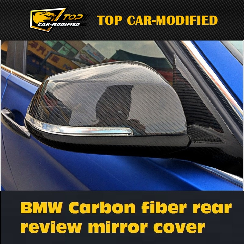 Free shipping Genuine carbon fiber rearview door wing side mirror caps cover replacements for BMW 4 Series 2013 up