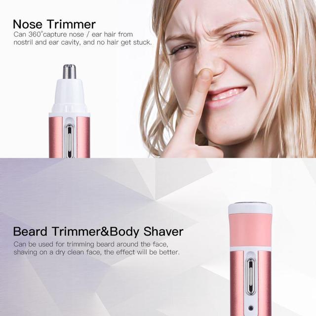 4 in 1 Epilator Female Eyebrow Trimmer Epilator Shaver For Hair Removal Epilator Face depilador Female Bikini Depilatory 1