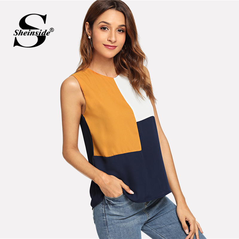 682b607e483 Sheinside Sleeveless Colorblock Top Office Ladies Work Cut and Sew Autumn  Tops for Women 2018 Multicolor Casual Blouse ~ Free Delivery May 2019
