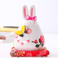 Crafts Arts Home Decoration Lucky Cat Ornaments Large Japanese Ceramic Piggy Piggy Opened Creative Gift Rabbit